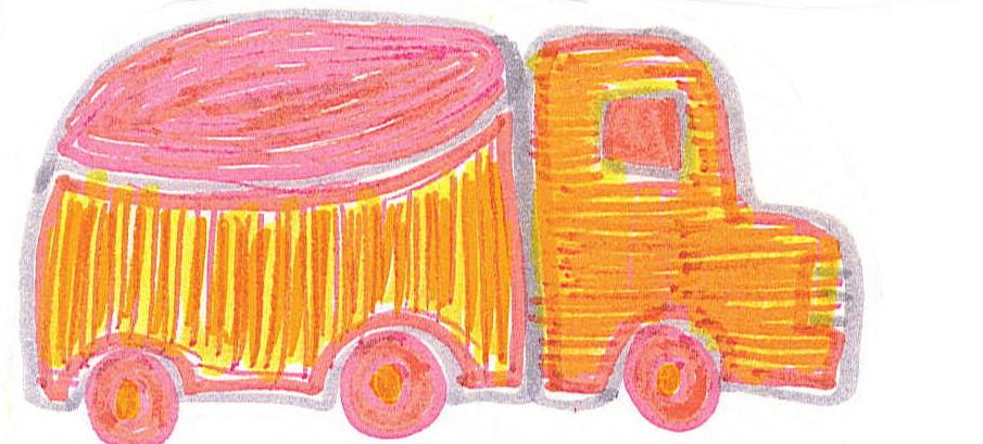 camion fond jaune + rose